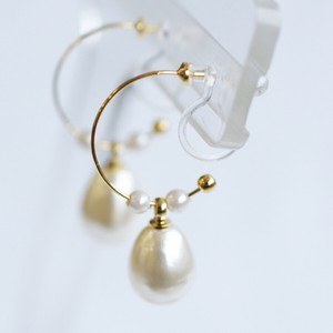 Drop Pearl Hoop Falling Resin Hall Earring