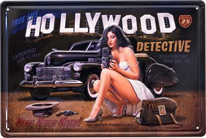 Antique Metal Plate S HOLLYWOOD DETECTIVE
