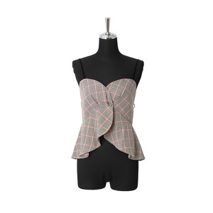 A/W Checkered Bustier Top Camisole