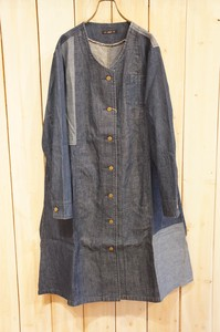 A/W A/W Switching Denim Non-colored One-piece Dress Coat