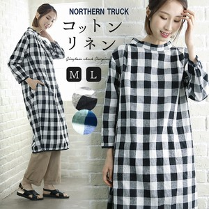 One-piece Dress Natural Long One-piece Dress Gingham Check Ladies