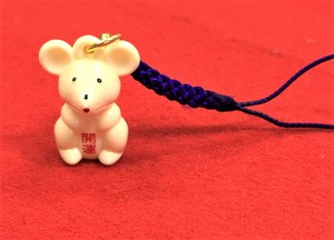 Zodiac Mouse Ivory Sitting Cell Phone Charm