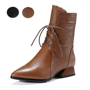 A/W Ladies Shoe Boots Short Boots Lace Heel Beautiful Legs