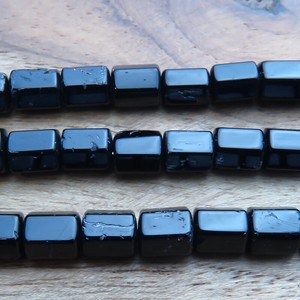 Power Stone Natural stone Beads Black Tourmaline Hexagon tube Single