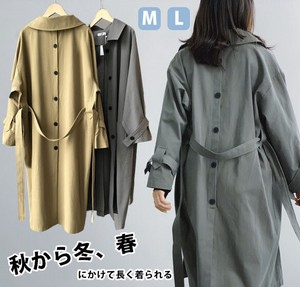 Ladies A/W Outerwear Leisurely Long Trench Spring Coat Behind Button Jacket