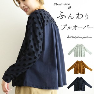 Pullover Top Long Sleeve Dot Plain Ladies Cut And Sewn Blouse Dot