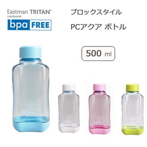 Water Flask To Drink Aqua Bottle Blue Block Style