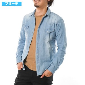 [2019NewItem] Denim Shirt Work Shirt Shirt Bleach Used