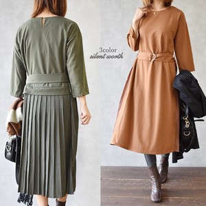 A/W Belt Bag Pleats Material Switching One-piece Dress