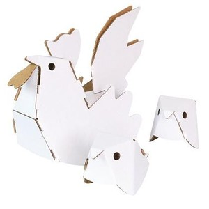 ANIMAL Chiken Parent And Child Cardboard Box Craft Kit