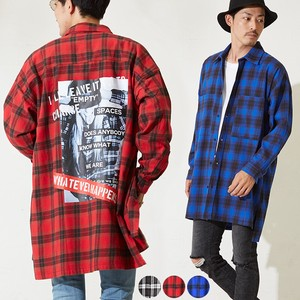 A/W Men's Bag Print Big Silhouette Heavy Long Sleeve Tartan Check Shirt