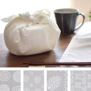 White Block Print Handkerchief
