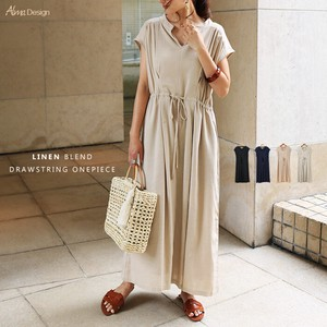 Linen Blend Shirt One-piece Dress