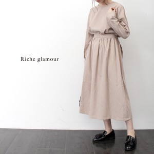 A/W Twill Peach Waist Ribbon One‐piece dress.