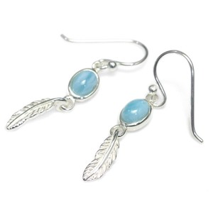 Silver 925 Ring Stone Pierced Earring Dominica Feather