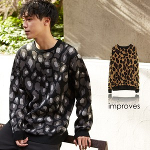 Men's Jacquard Leopard Long Sleeve Crew Neck Knitted Sweater