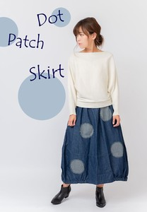 Denim Hickory Dot Balloon Skirt