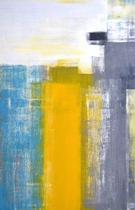 キャンバスパネル Art Panel Teal and Yellow Abstract Art Painting