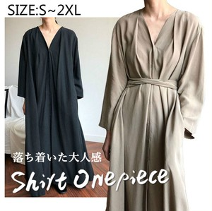 Ladies Long Shirt One-piece Dress Belt Attached Plain Long Sleeve V-neck Funwari Line