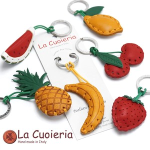 Italy Brand Cow Leather Area Leather Key Ring Strawberry