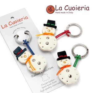 Italy Brand Area Leather Key Ring Snowman Snowman Christmas Present