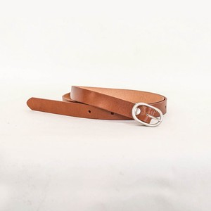 Tochigi Leather Belt Cow Leather Men's Ladies Brown Silver