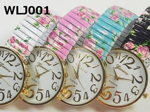 Ladies Wrist Watch Floral Pattern rose Belt Larger Dial