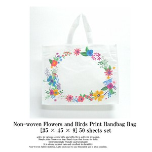 Flower Small Birds Print Non-woven Cloth Tote Bag 50 Pcs Set