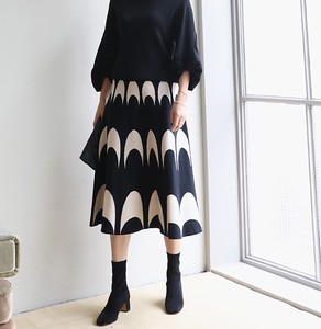 [2019NewItem] Half Moon Knitted Flare Skirt