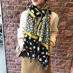 Stole Scarf Large Format Unisex Tassel Attached Dot Dot 3 Colors