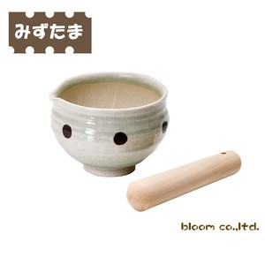 """2020 New Item"" Dot Lipped Bowl Mortar Bowl ""Kitchen Goods"" Wooden Pestle Mino Ware"