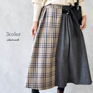 A/W Checkered Plain Color Scheme Switching Skirt