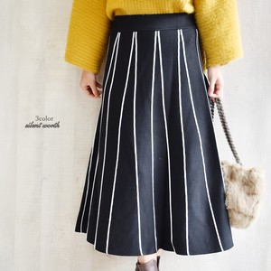 A/W Deformation Stripe Knitted Flare Skirt