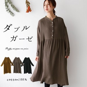 One-piece Dress Tunic One-piece Dress Double Gauze Natural Ladies