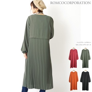 A/W Bag Pleats V-neck One Piece