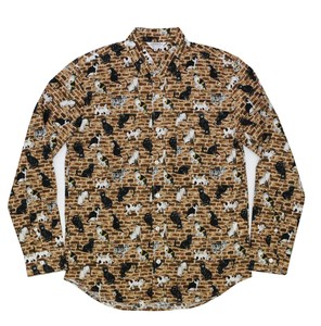 cat Brick Print Long Sleeve Shirt