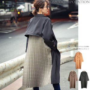 A/W Polyester Material Bag Pleats Checkered Trench Coat