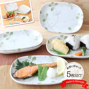 Mino Ware Oval Plate 5 Pcs Mino Ware Clover Green Botanical Natural Oval