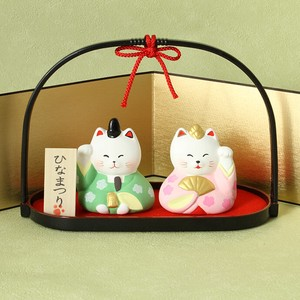Doll Beckoning cat cat Matsuri Celebration Folding Screen