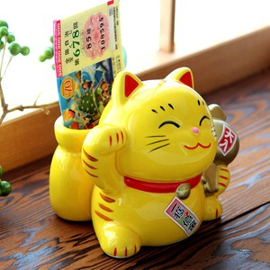 Seto ware 1 Pc Piggy Bank Full House Fortune Gavel Beckoning cat Yellow