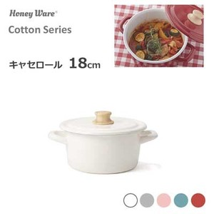 Roll Pots with 2 Handle 18cm Attached Cocotte Fuji Enamel Honey Cotton