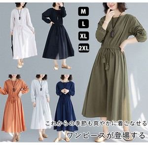 Ladies A/W Long Sleeve Long One-piece Dress Body Type Cover Leisurely Line Plain