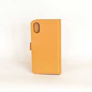 Cow Leather iPhone Case Yellow Notebook Type Smartphone Case Men's Ladies Yellow