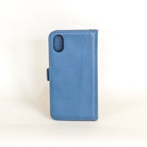 Cow Leather iPhone Case Notebook Type Smartphone Case Men's Ladies Navy