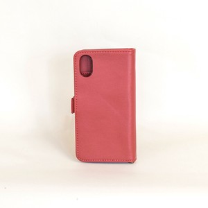 Cow Leather iPhone Case Wine Notebook Type Smartphone Case Men's Ladies Wine Red