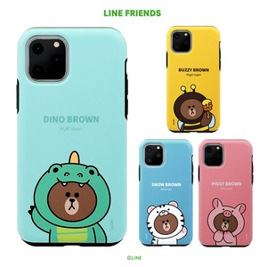 iPhone 11 Pro / 11 Pro Max / 11 / XS/X カバー LINE FRIENDS JUNGLE BROWN DUAL GUARD