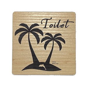 Toilet Plate Ornament Palm Tree Wood Grain Acrylic Plate