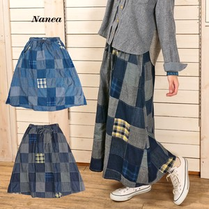A/W A/W Denim Patchwork Gather Skirt