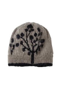 Hand Knitting Leaf Motif Knitted Cap