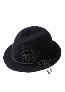Leaf Motif Embroidery Felt Hat
